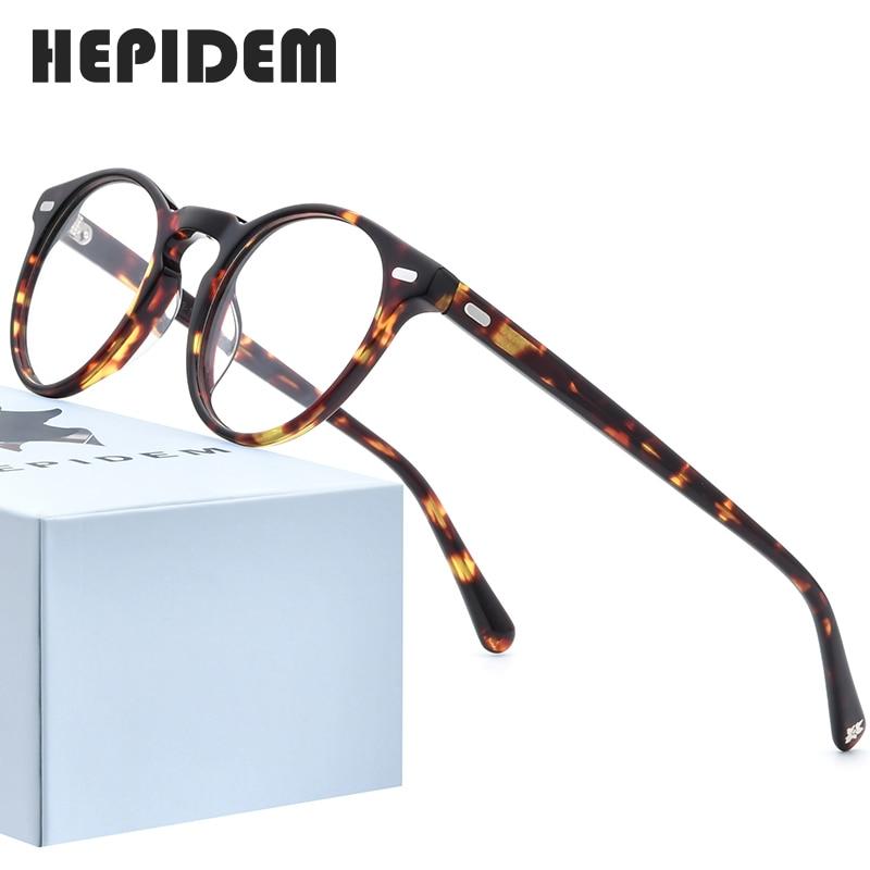HEPIDEM Acetate Optical Eyeglasses Frame Men Retro Vintage Round Prescription Glasses Nerd Women Spectacles Myopia Eyewear 9108