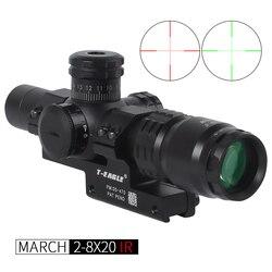 Hot new March 2-8x20 IR Tactical RiflesScope 20mm mount Optics Rifle Scopes sight HD R/G Hunting Scopes night vision scope
