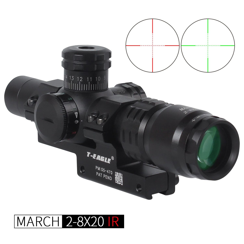 Sıcak yeni mart 2-8x20 IR taktik RiflesScope 20mm dağı optik tüfek kapsamları sight HD R/G avcılık kapsamları gece görüş kapsamı