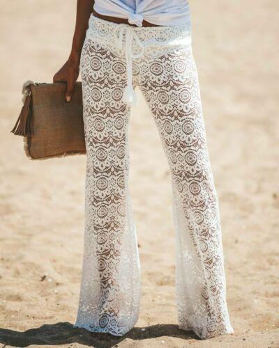 Hot Summer Women's Sexy Crochet Beach   Wide     Leg     Pants   See Through Swimwear Beach Long Trousers Female Casual Fashion   Pants