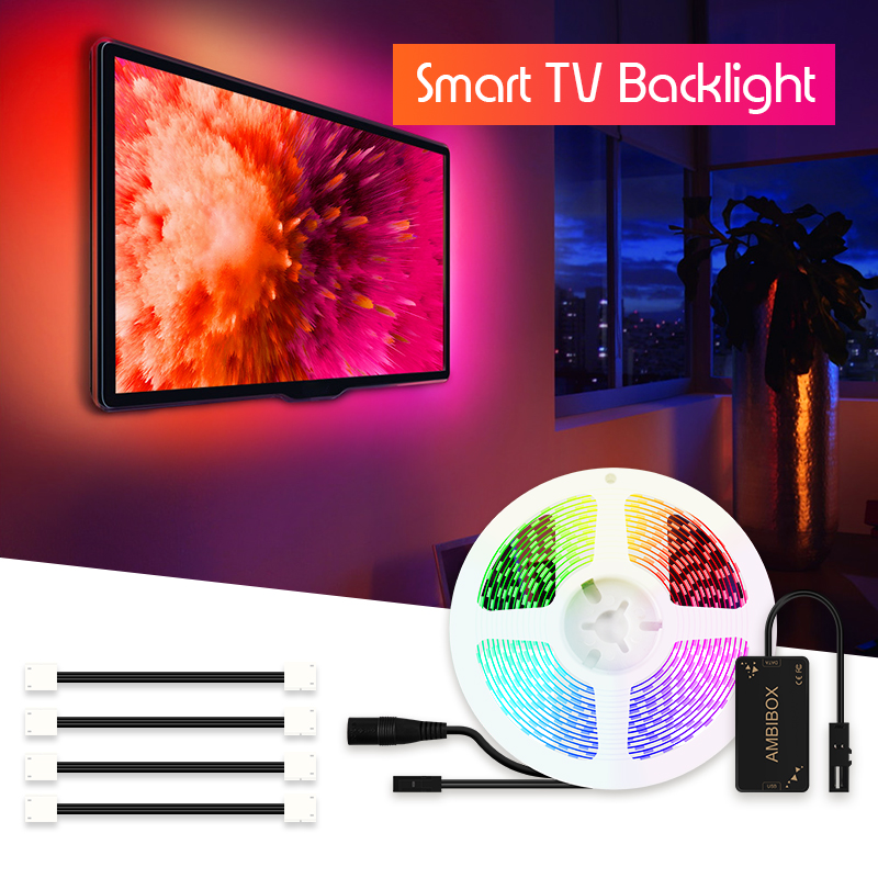 Ambilight Kit Dream Color LED Strip 5050 RGB 1M 2M 3M 4M 5M For HDTV Desktop PC Screen Backlight IP30 LED Pixel Strip Lights