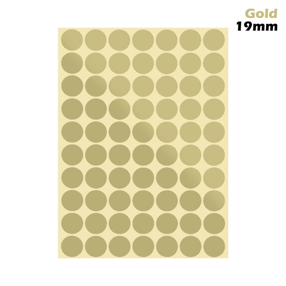 1 лист 10 мм/19 мм цветные наклейки в горошек круглые круги точки бумажные клеящиеся этикетки офисные школьные принадлежности - Цвет: gold 19mm