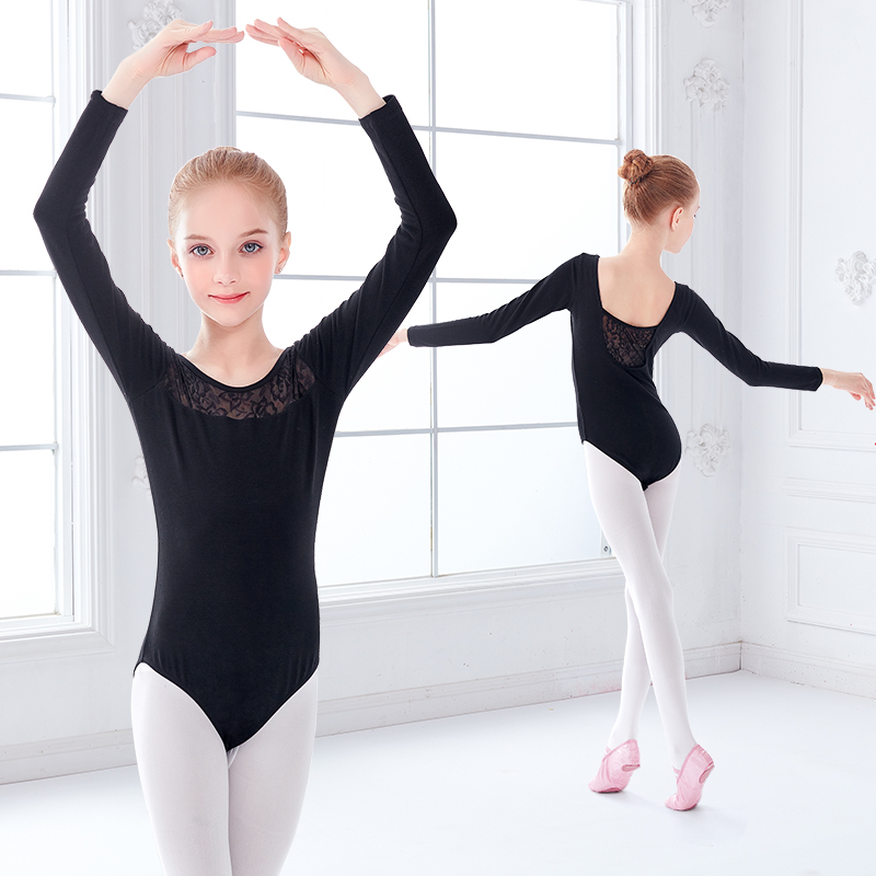 Girls Black Ballet Leotards Kids Lace Splice Dance Wear Short Sleeve Gymnastics Bodysuit for Dancing