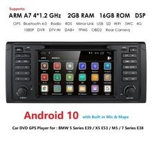 IPS DSP 안 드 로이드 10 4G 1din 자동차 멀티미디어 플레이어 BMW X5 E53 E39 GPS 스테레오 오디오 탐색 멀티미디어 화면 머리 단위 DVD
