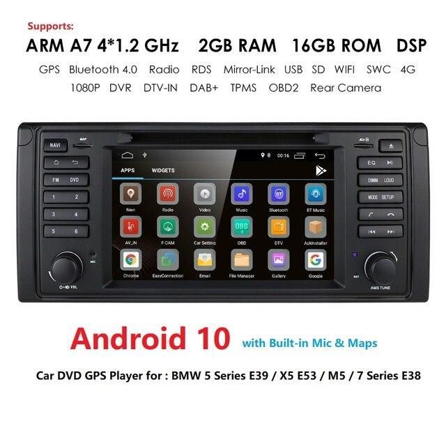 IPS DSP Android 10 4G 1din samochodowy odtwarzacz multimedialny dla BMW X5 E53 E39 GPS stereo audio nawigacja multimedialny ekran jednostka główna DVD