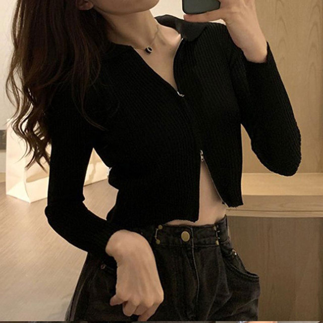 Jocoo Jolee Fashion Black Ribbed Zip-up Cardigans Casual Turn-down Collar Long Sleeve Autumn Sweater Sexy Cropped Tops Knitting 5