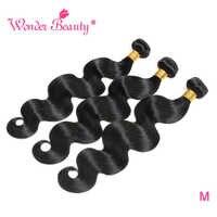 Mechones de cuerpo ondulado extensiones de pelo ondulado mechones 100% extensiones de cabello humano mechones Wonder Beauty Natural negro Remy extensión de cabello humano