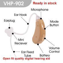 VHP 902 digital de ajuste abierto, amplificador de soporte auditivo inalámbrico para oído y voz, ajustable