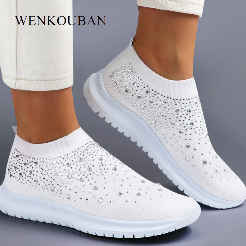 Summer White Sneakers Women Vulcanized Shoes Ladies Slip On Sock Shoes Casual Walking Bling Flats Female Trainers Tenis Feminino