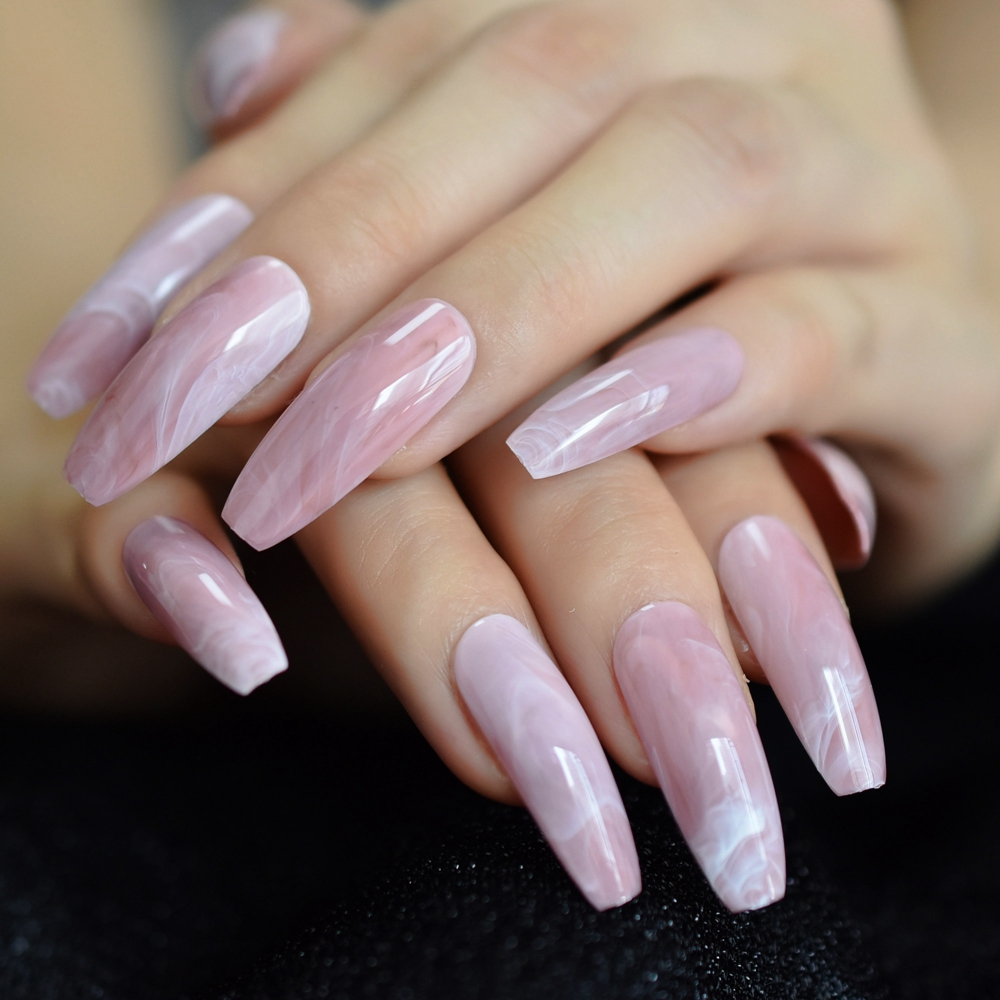 Extra Long Pink Marble Press On False Nails Glossy Coffin Ballerina Pre Designed Curved Fake Fingersnails Free Adhesive Tapes False Nails Aliexpress