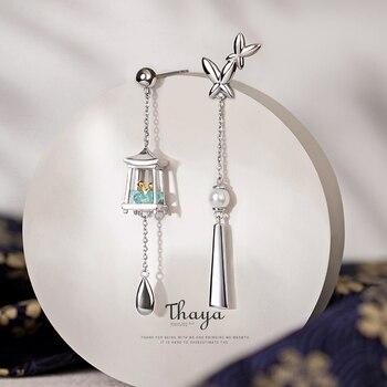 Thaya 925 Sterling Silver Needles Tassels Green Lantern Earrings Eardrop Exquisite Earrings Dangle For Women Luxury Fine Jewelry