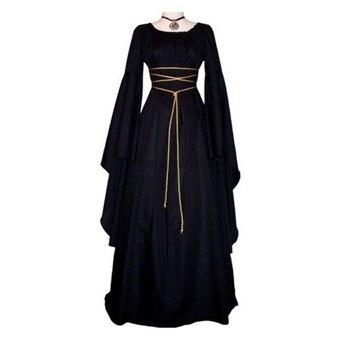 QWEEK Long Halloween Dress Women Autumn 2020 Cosplay Plus Size Vintage Sleeve Black Party Clothes