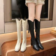 Сапоги женские кожаные до колена высокие сапоги с квадратным