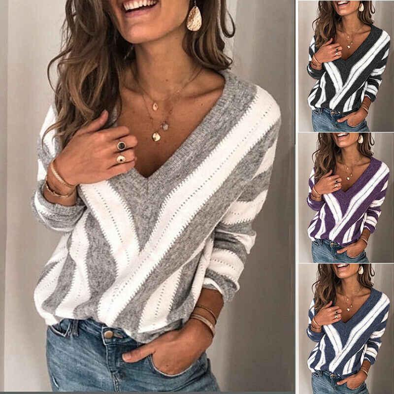 2020 여성 스웨터 가을 v 넥 긴 소매 스웨터 ol 느슨한 니트 풀오버 점퍼 탑 스트라이프 여성용 스웨터 캐주얼 풀오버