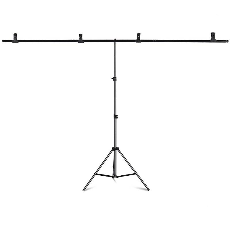Kit de soporte de fondo portátil en forma de T soporte de fondo 6,5 pies de ancho 6,5 pies de alto soporte de fondo de foto ajustable con abrazaderas de resorte