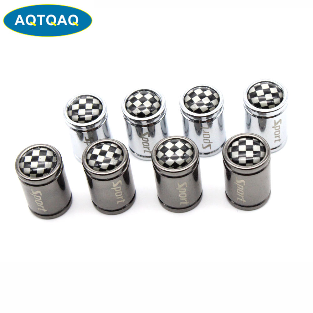 4 Pcs/Set Copper +Chrome Black And White Style Tire Valve Stem Cap Tire Wheel Stem Air Valve Caps For Auto Cars