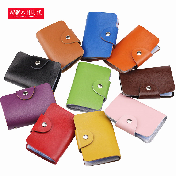 Multi-position Business Card Clamp Cowskin True Leather Card Bag