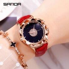цена на Romance Rotate Diamond Starry Sky Quartz Female Watch Gold Waterproof Watch Jewelry for Women Classic Leather Band Ladies Watch