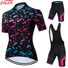 Teleyi Pro Team Cycling Jersey Set Women Summer Bike Clothes MTB Ropa Ciclismo Bicycle Uniforme Maillot Quick Dry 5D Pad