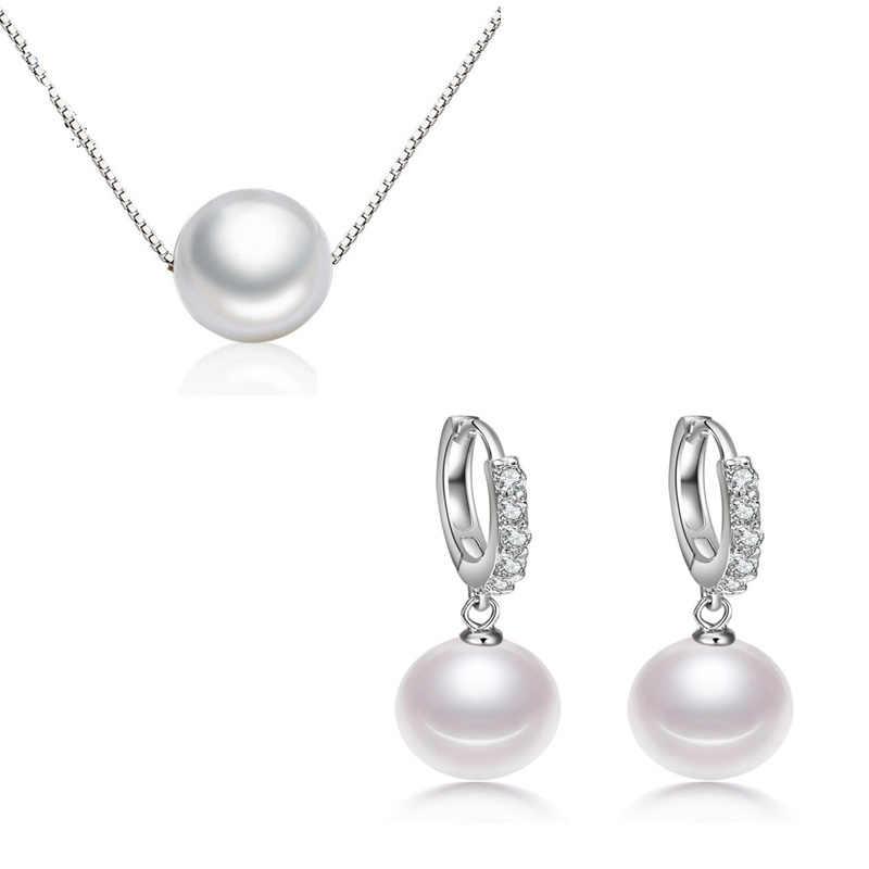 Proste 925 Sterling srebrny naszyjnik prawdziwe perły wisiorek naszyjniki + kolczyki dla kobiet zestawy biżuterii prezent kolye Choker bijoux femme