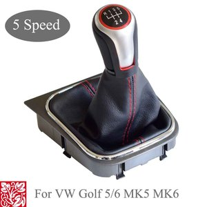 Image 1 - For VW Volkswagen Golf 5/6 MK5/6 Scirocco(2009) octavia Car Gear Shift Knob Lever Pen 5 6 Speed handle ball boot cover Gaitor