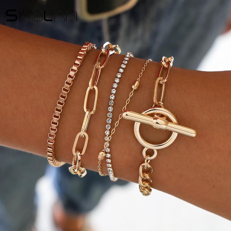 Sindlan 5PCs Easy Hook Fashion Crystal Bracelets for Women Gold Wrist Chain Bracelets Set Female Boho Statement Bracelet Jewelry(China)