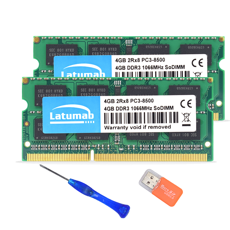 Купить с кэшбэком Latumab 4GB DDR3 1066mhz PC3 8500 New Laptop Memory SoDimm Memory Ram 204 Pins High Quality Notebook Module SODIMM 1.5V DDR3 RAM