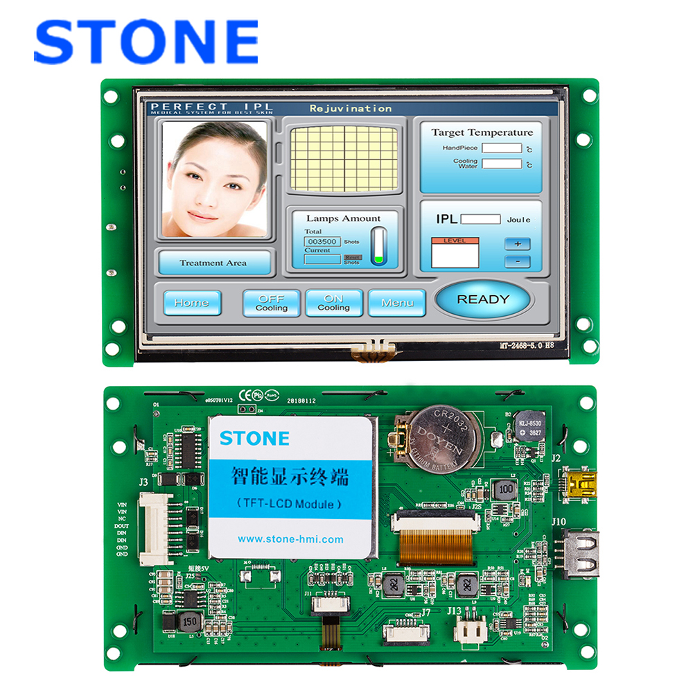 5 Inch HMI Open Frame TFT LCD Display with Program + PCB Controller for Industrial Use