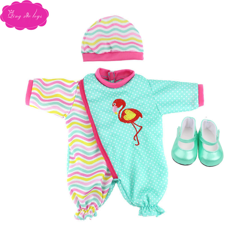 18 inch Girls doll clothes Cute cartoon set red New Year outfit with shoes American newborn skirt toys fit 43 cm baby dolls c236 in Dolls Accessories from Toys Hobbies