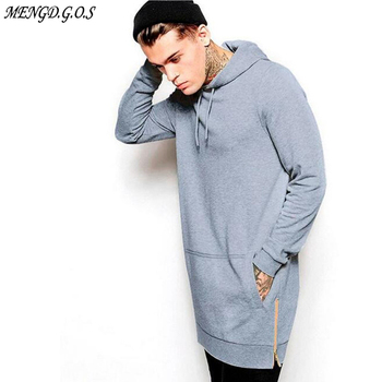 New Arrival Black Solid Fleece Hip Hop Oversize Men Hoody Longline Fashion Hoodies Sweatshirts Free Shipping