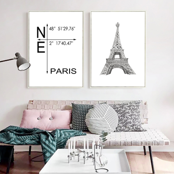 Line Drawing The Eiffel Tower Canvas Poster Latitude & Longitude Of Paris City Poster Wall Art Picture for Study Room No Frame image