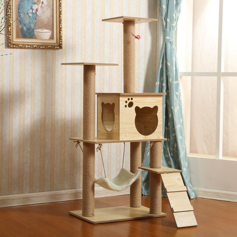 Sisal Cat Climbing Frame Wholesale Large Cat Climbing Frame Cat Nest Cat Tree Multilayer Wood Scratching Pole Cat Toy Cat Scratc