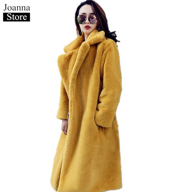 Winter Faux Fur Teddy Bear Long Thick Coat Women Fake Fur Fluffy Warm Pink Lapel Furry Jackets Female plus size Yellow Overcoat