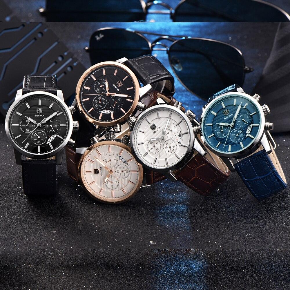 Reloj Hombre BENYAR mode chronographe Sport hommes montres haut de gamme de luxe affaires montre à Quartz horloge Relogio Masculino - 4