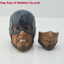 1/6 Scale Captain America Head Carved Beard Chris Evans Sculpt angry Carving 2 faces Collectible Toys Accessories