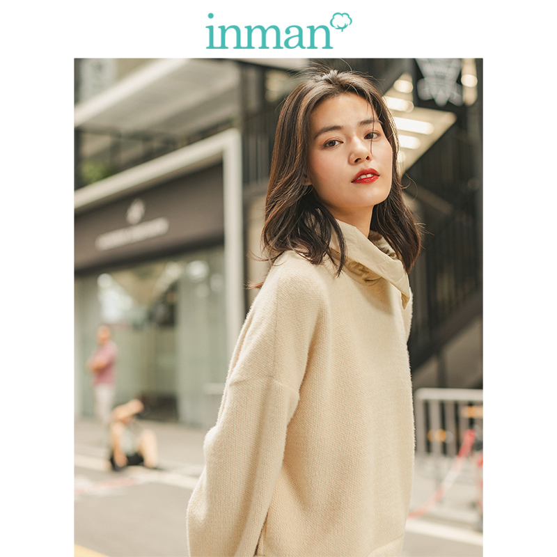 INMAN Winter Literary Personality Drop-shoulder Sleeve Turn Down Collar Warm Women Short Sweat Shirt