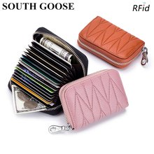 Genuine Leather RFID Blocking Credit Card Holder Men Business Card Case Female Zipper Organizer Purse Card Bag Small Wallet