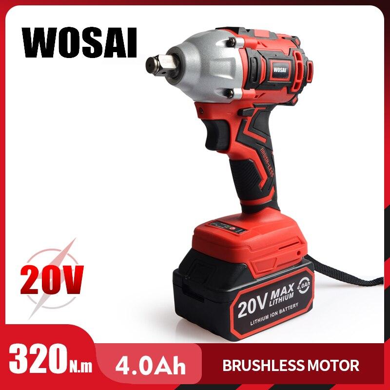 Wosai 20V Borstelloze Elektrische Wrench Slagmoersleutel Dopsleutel 320N. M 4.0AH Li Batterij Hand Boor Installatie Power Tools