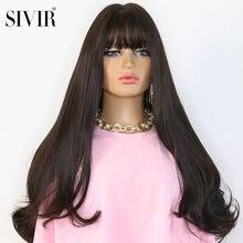 Sivir синтетический длинный кудрявый парик с челкой парики для