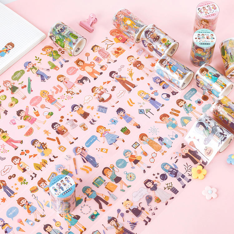 Rainbow Girl Series Bullet Journal Washi Tape Cute Girl's Daily Life Decorative Pet Adhesive Tape DIY Scrapbooking Sticker Label