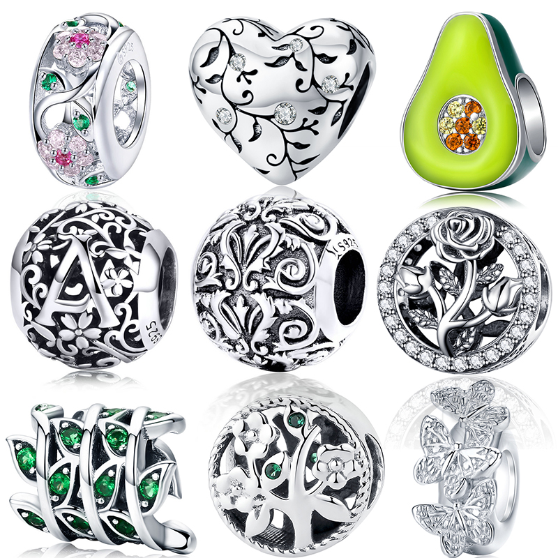 Bangles Fit-Bracelets Charms Orchid Rose-Flower-Beads Fine-Jewelry Magnolia 925-Sterling-Silver