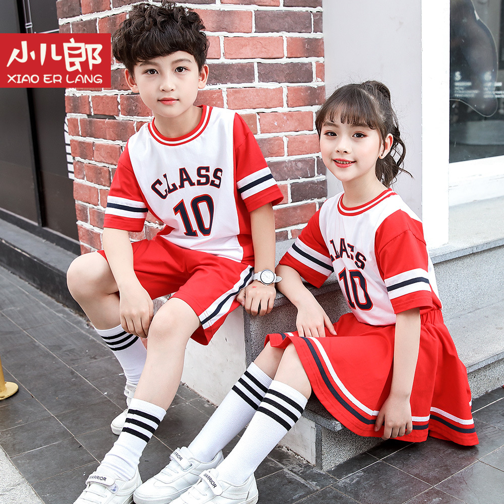 Young STUDENT'S Business Attire School Uniform 2019 New Style Children Summer Short-sleeved Sports Clothing Set Kindergarten Sui
