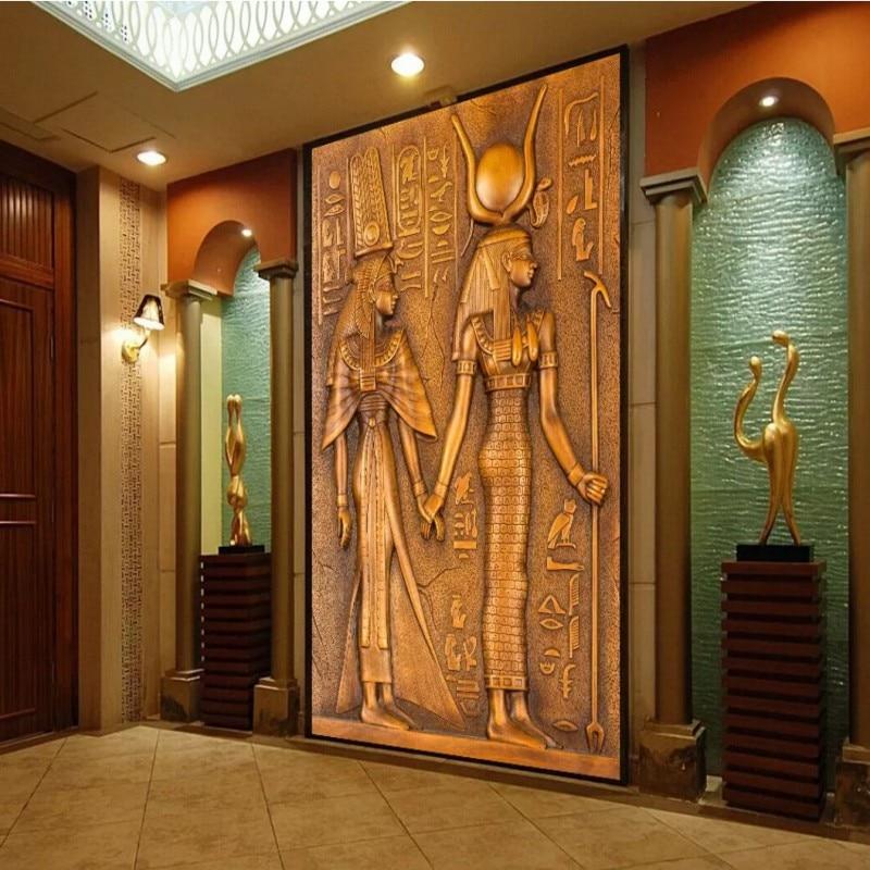 Custom Entrance Wallpaper Ancient Egyptian Figure Wallpapers Entrance Hallway Sofa Backdrop Wall Paper Decoration Mural