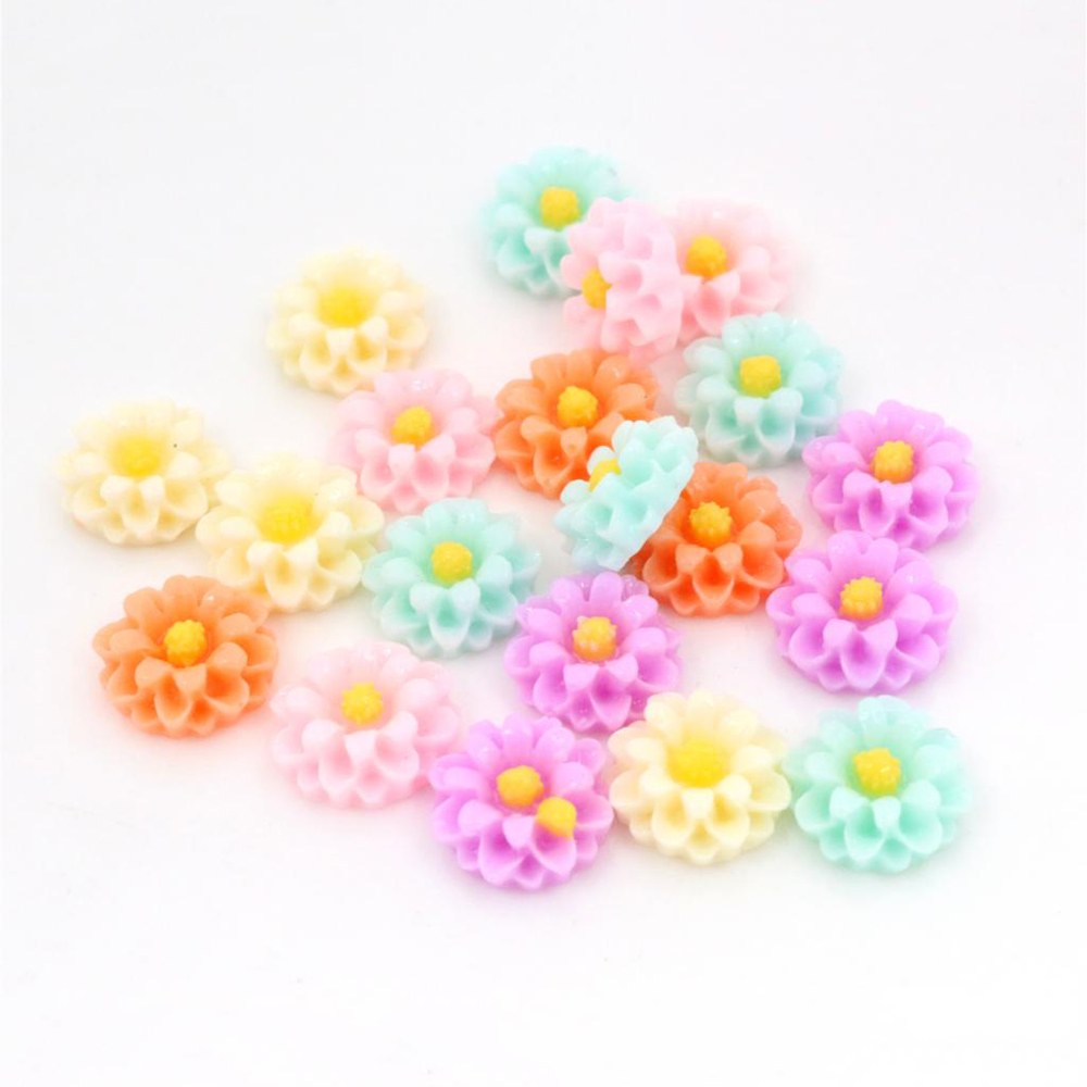 New Fashion 40pcs 12mm Mix Colors Flat Back Resin Flower Cabochons Cameo  G6-16