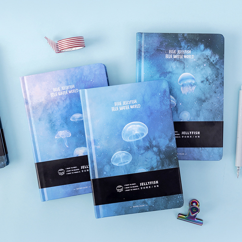 JUGAL Creative Blue Jellyfish Notebook A5 Blank Color Art Drawing Papers Journal Hard Cover Note Book Korean Stationery Gifts