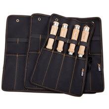 Cinzel caso de transporte lona bolso ferramenta rolo titular chave bolsa 4 bolsos organizador para faca martelos gouges carpinteiro