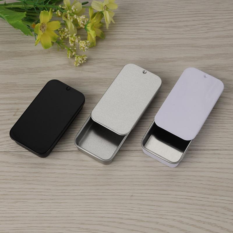 Размер 60x34x11 мм белая и черная раздвижная жестяная коробка/мята жестяная коробка/бальзам для губ упаковочная коробка с пищевым покрытием/прямоугольная tin100шт/лот