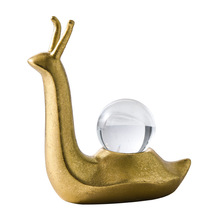 nordic decoration home statue sculpture Golden Snail Crystal Ball Ornaments dropshipping Creative Light Luxury Crafts Animal