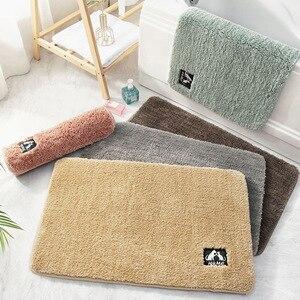 Felpudo liso Simple de felpa para la puerta del hogar, alfombra para el suelo, alfombrilla antideslizante gruesa para el baño, alfombrilla absorbente para los pies, alfombrillas para el baño