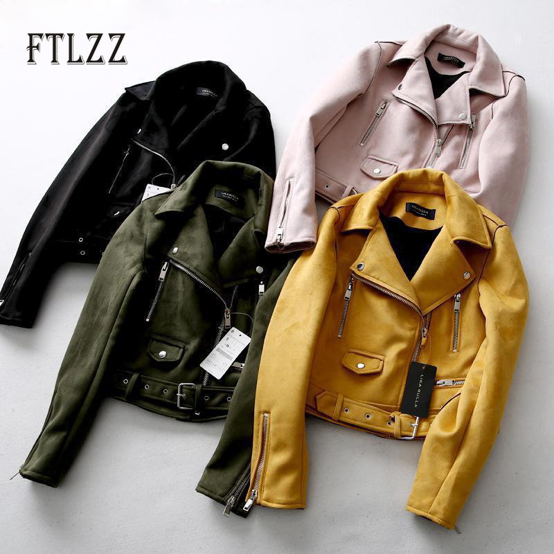 Fashion vintage   suede   jacket new autumn slim long sleeve with belt yellow short   leather   coat laides biker moto style outerwear